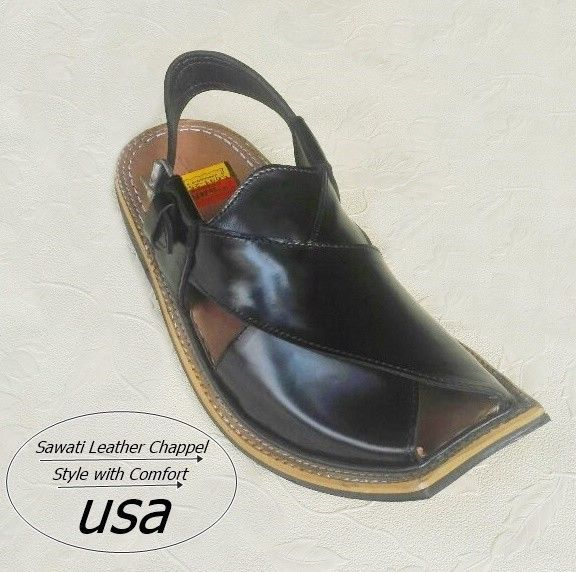 Us 7, 8,9,10,11 men's handmade black sawati leather peshawari chappel