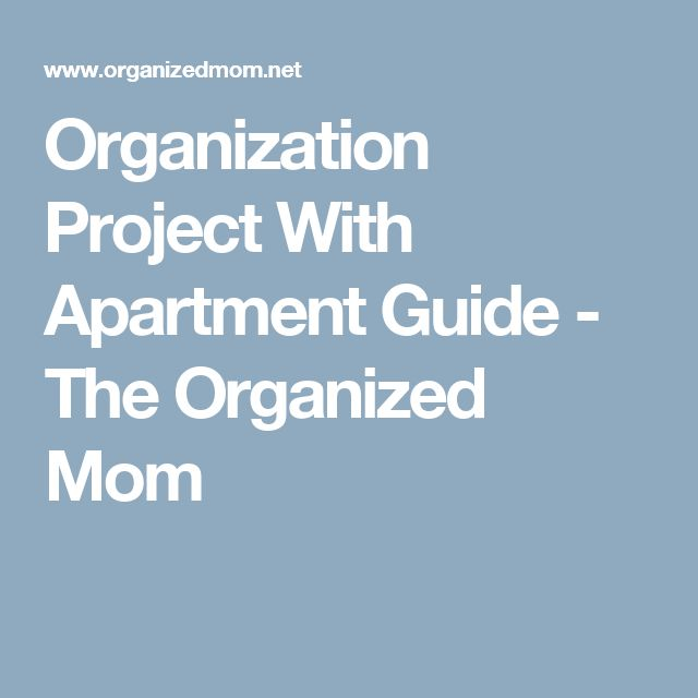 Organization Project With Apartment Guide - The Organized Mom
