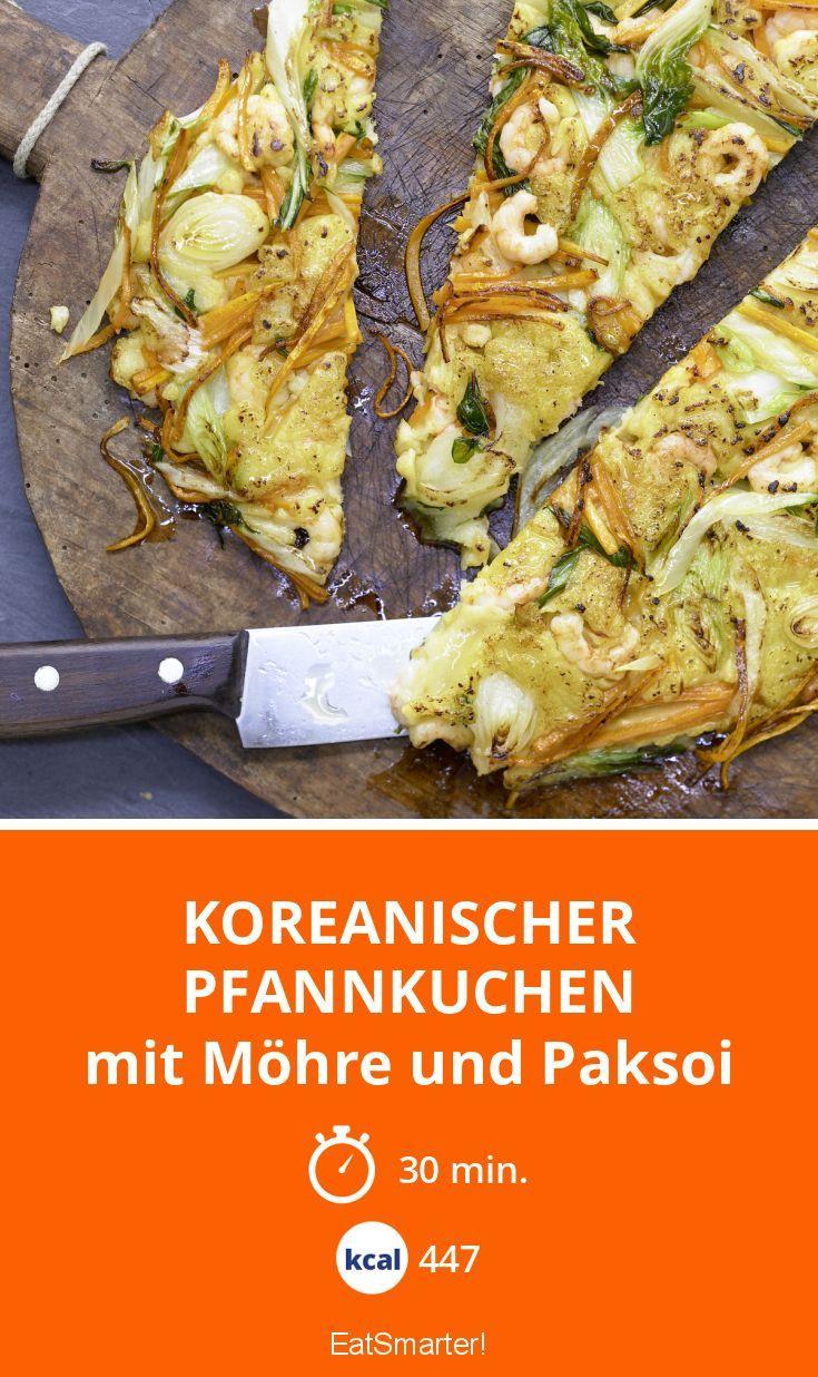 Koreanischer Pfannkuchen - mit Möhre und Paksoi - smarter - Kalorien: 447 Kcal - Zeit: 30 Min. | eatsmarter.de