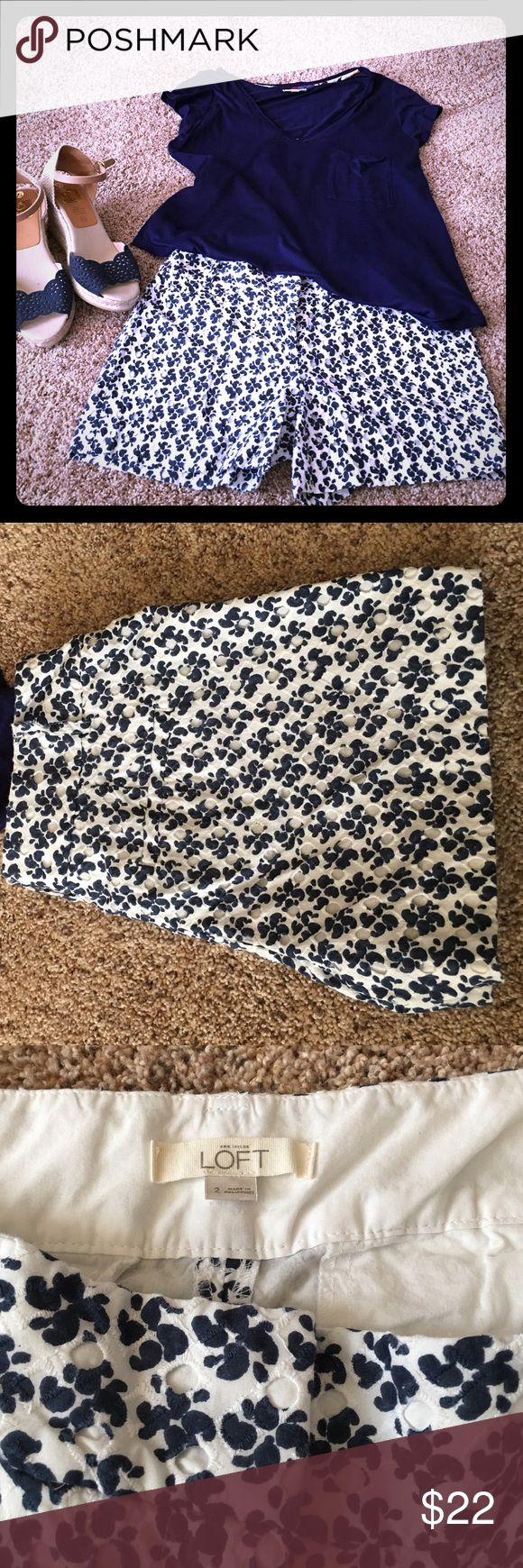 Like New Eyelet Shorts Super cute pair of navy and white eyelet shorts. Dress up with heels or go casual with a tank n flip flops! No pockets. 3 inch inseam. LOFT Shorts