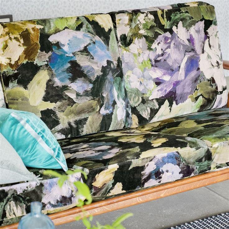 bloomsbury rose - indigo fabric   Designers Guild