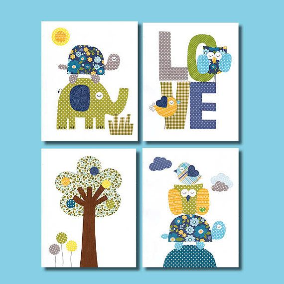 Tree Colorful Animal Nursery Artwork Print Baby Room Decoration // Kids Room Decoration // Gifts Under 20 // Little Boys Room wall art on Etsy, $42.00