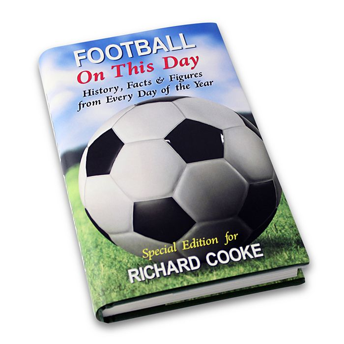 This Football On This Day Book can be personalised with a name using up to 25 characters at the bottom. Inside the cover add a longer message of up to 4 lines of 20 characters , please count spaces as characters. It is a hardback with a coloured sleeve.