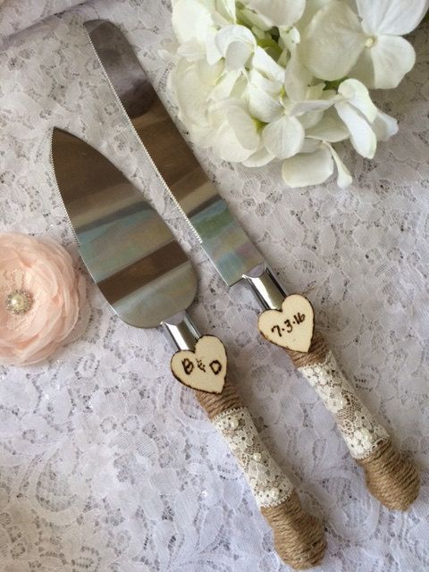 Burlap Cake Knife Set, Lace Wedding Knife & Server Set  / http://www.deerpearlflowers.com/rustic-country-burlap-wedding-cakes/