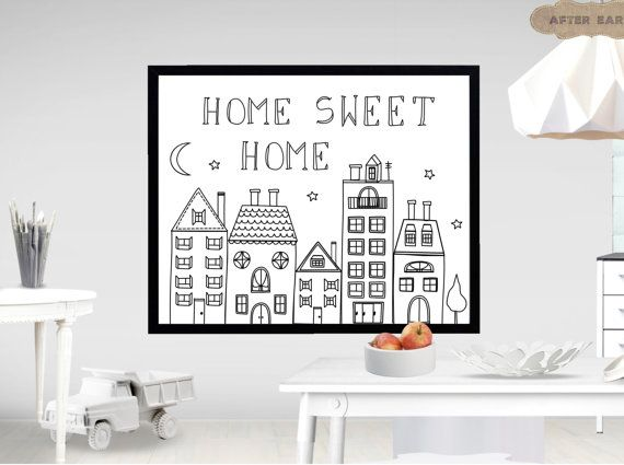Home sweet home. Digital nursery printable. Baby by AfterEarth