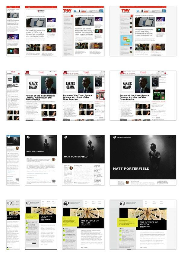 A few examples of responsive design