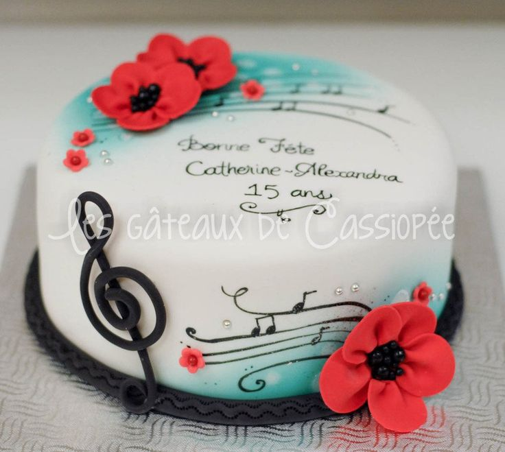 Red And Turquoise Birthday Cake