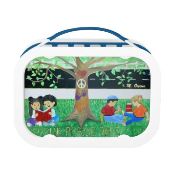 I always enjoy painting pictures with positive messages for children. I painted an Anti-Bullying Mural at an elementary school. This lunch box design is great for a little boy or girl.