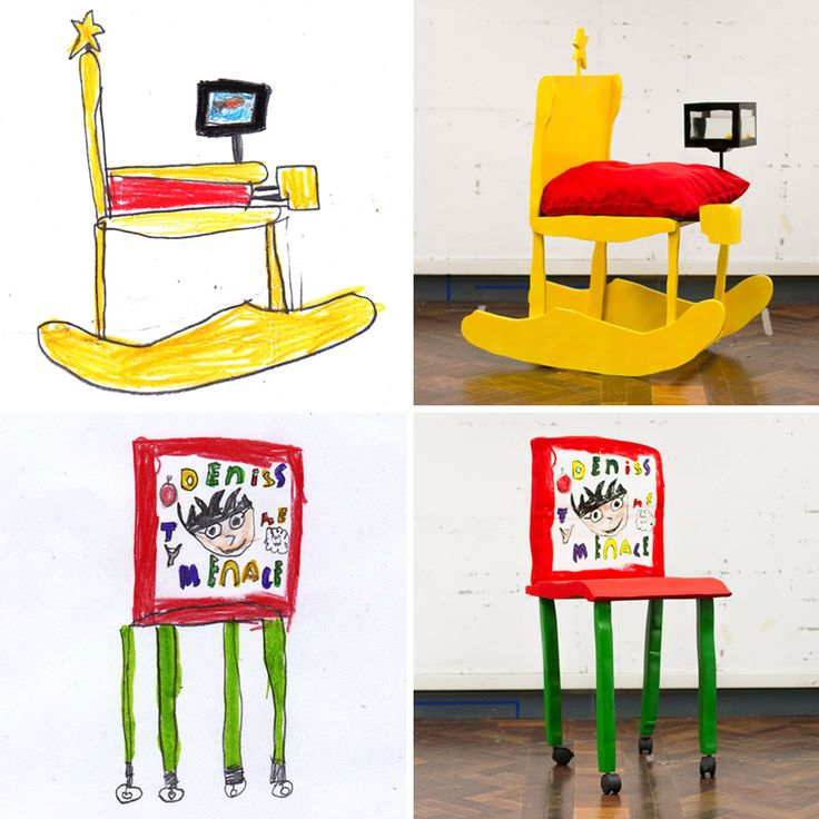 Beautiful chairs made from chidrens' drawings