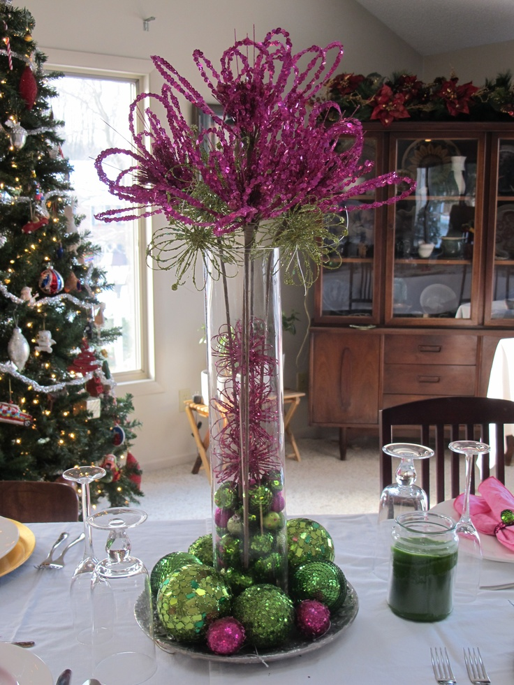 Purple and Green Christmas decorations
