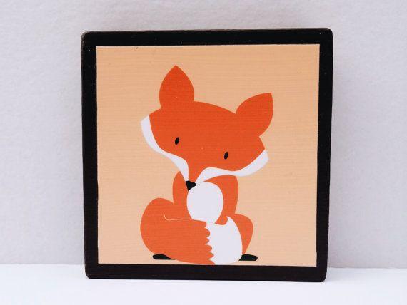 Little Red Fox Art Block Sherbet Orange Background by WoodlingsArt, $15.00