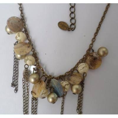 Collar Conjunto Isadora Dorado Bronce Nacar. Aros De Regalo , $ 99,00