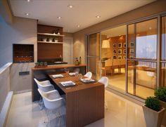 Varanda Gourmet com Cadeiras Eames e Mesa em Madeira!!!