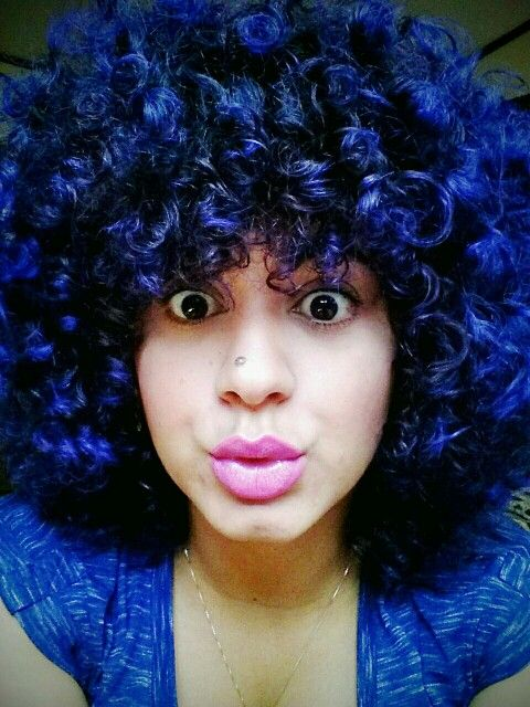 My natural curly blue hair! Manic panic shocking blue
