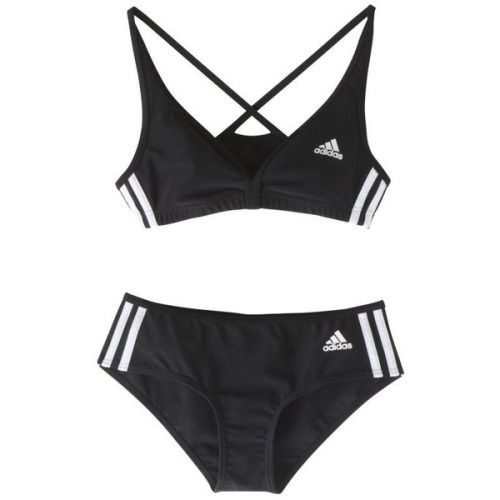 hollywoosnam: Adidas Authentic 2-Piece Bikini, Black ❤ liked on Polyvore (see more bikini bathing suits)