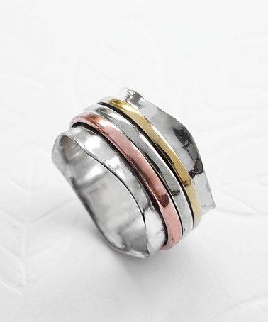 Love this Tri-Tone Triple Scallop Spinning Ring on #zulily! #zulilyfinds