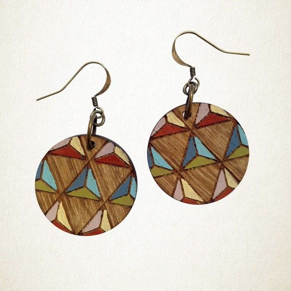 Shonah Geometric Earrings Wood |Krinkle Gifts