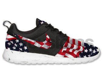 Nike Roshe Run Black White Marble American Flag Pride V2
