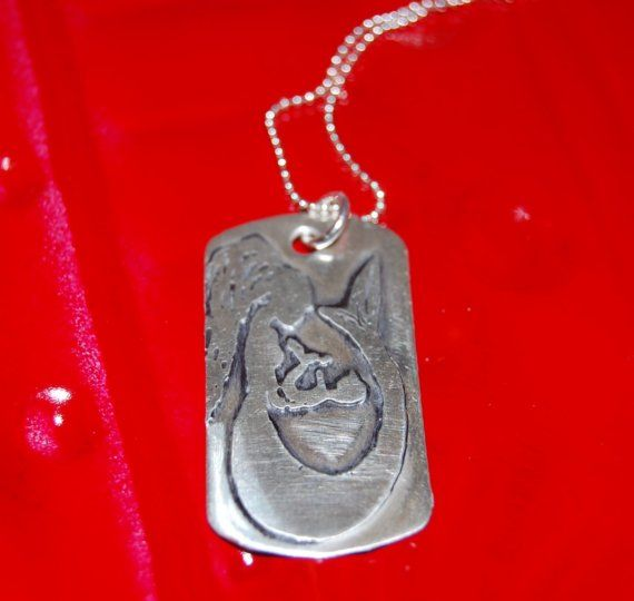 Etched Mermaid and Baby Dog Tag Necklace by ohanabylea on Etsy, $70.00