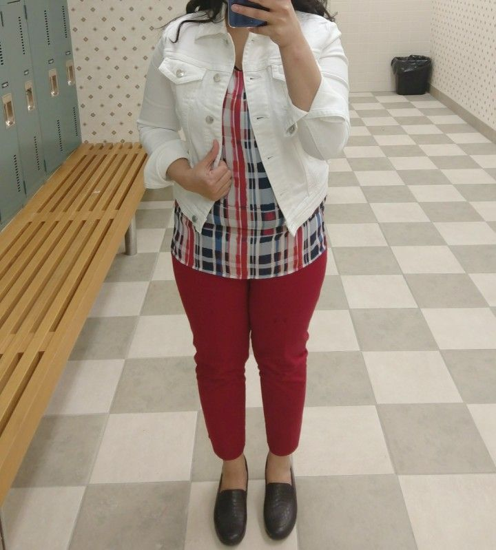 White denim jacket with red crop pants