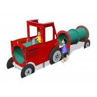 Young farmers will love our jolly red Play Tractor; whether they're ploughing the fields or acting out a favourite farm nursery rhyme or story! The Play Tractor features a fun play tunnel at the front for children to crawl through into the cab, where they can stand on the driver's platform and take the  tractor for a trip around the farm.