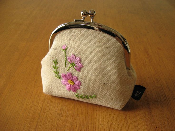 https://flic.kr/p/gJvYeB | cosmos snap frame purse | pouch with original hand embroidered cosmos motif on wool.  part of the { y * handmade } collection