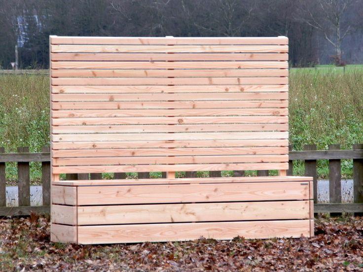 Blumenkasten mit Sichtschutz lang aus Holz Douglasie Natur