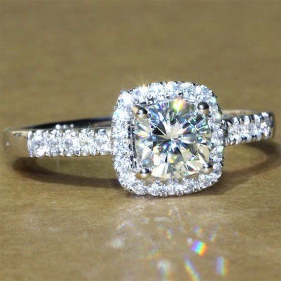 A Perfect 1.9CT Asscher Cut Halo Russian Lab Diamond Ring +++++++++++++++++++MOST PINS ON PINTEREST+++++++++++++++++++++ Russian lab diamonds are grown by a proprietary process that recreates the mira