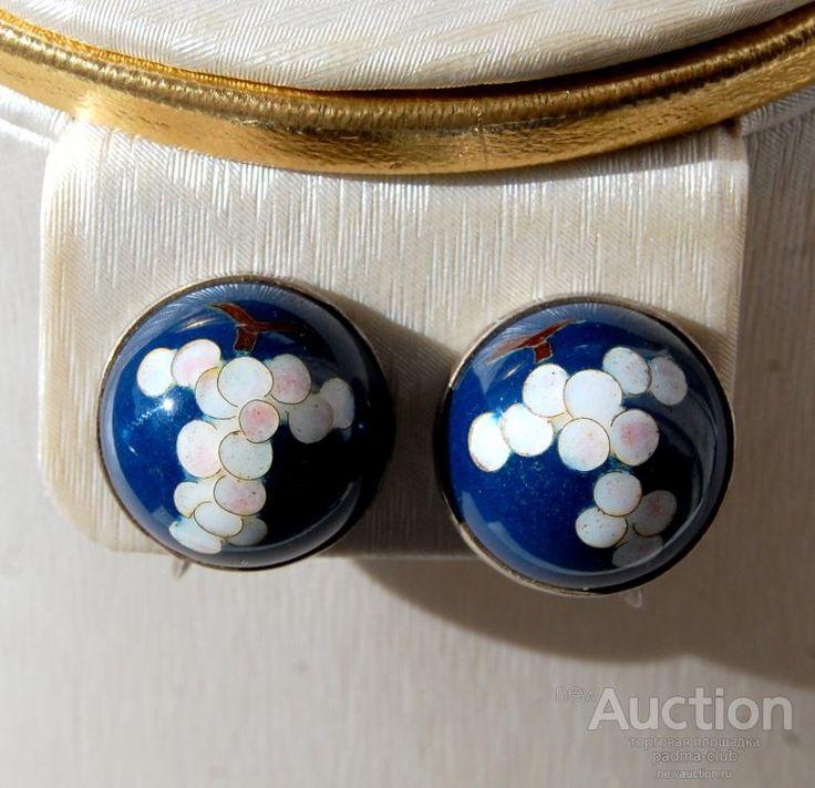 Серьги на винтах Сакура, эмали, серебро 950, 1940е, Япония.