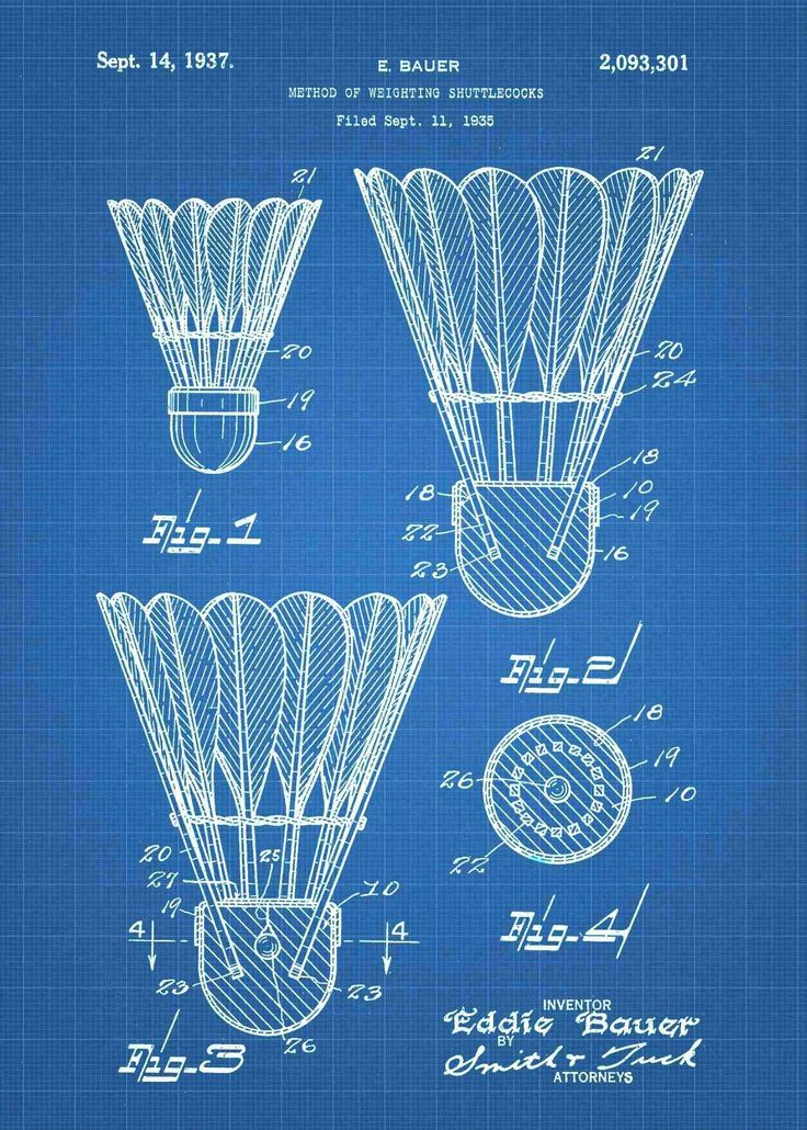 Badminton Shuttlecock Patent Print
