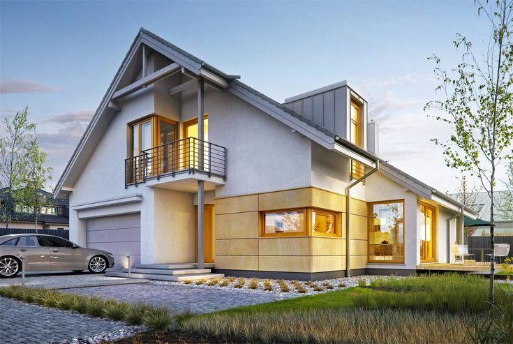 Doskonały 3 - wizualizacja 1 - Nowoczesne projekty domów z dachem dwuspadowym i antresolą