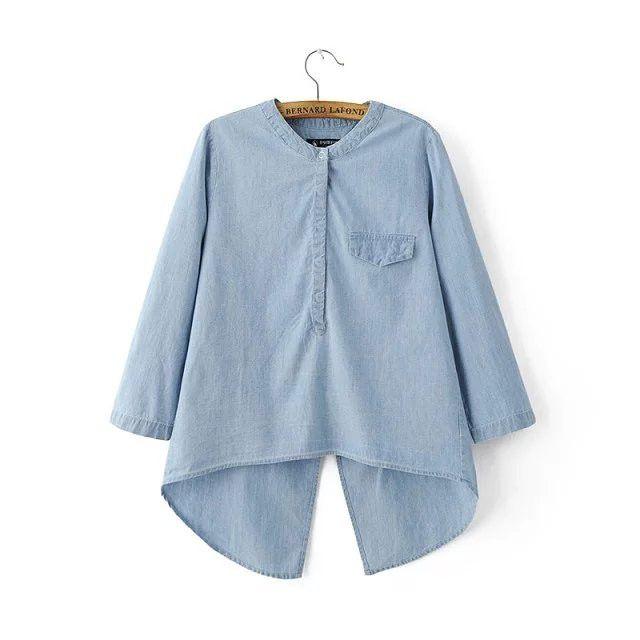 New Women Shirt Slant Irregular Plus Size Roll Up Sleeve Sky blue Color Pocket behind slit Loose Casual denim shirt