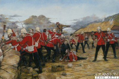 Men of the 24th Foot defend Rorkes Drift against an overwhelming number of Zulus near the barricades, and the hand to hand fighting. Surgeon Reynolds can be seen attending a wounded soldier.