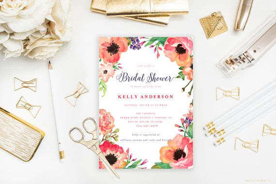 Tropical Bridal Shower Invitation eau couleur par blushprintables