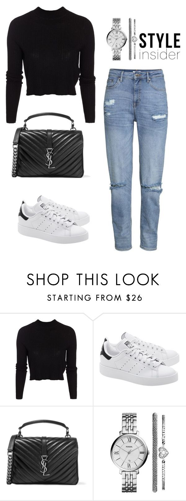 """""""Untitled #249"""" by alinut ❤ liked on Polyvore featuring ONLY, adidas Originals, Yves Saint Laurent and FOSSIL"""