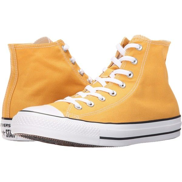 Converse Chuck Taylor All Star Seasonal Color Hi (Solar... ($51) ❤ liked on Polyvore featuring shoes, sneakers, orange, converse trainers, lace up sneakers, orange shoes, orange sneakers and lacing sneakers