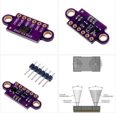 SENSORES DE DISTANCIA LÁSER VL53L0X El VL53L0X es un sistema de medición de tiempo-de-vuelo integrado en un módulo compacto. Esta placa es el soporte para el pequeño integrado VL53L0X...
