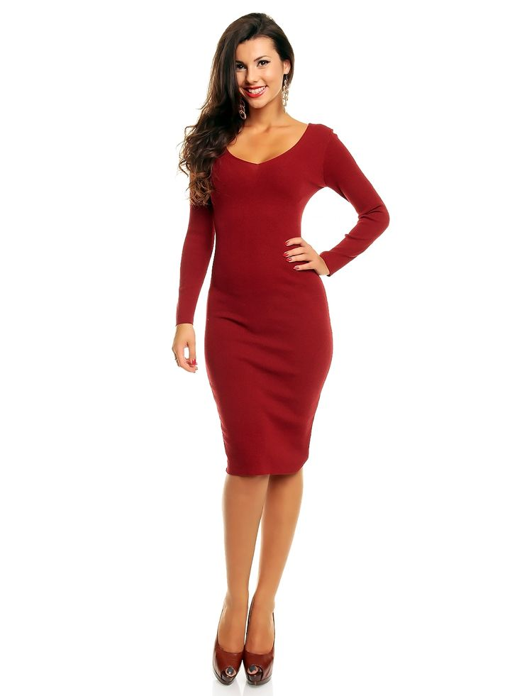 Knitted red dress, midi length