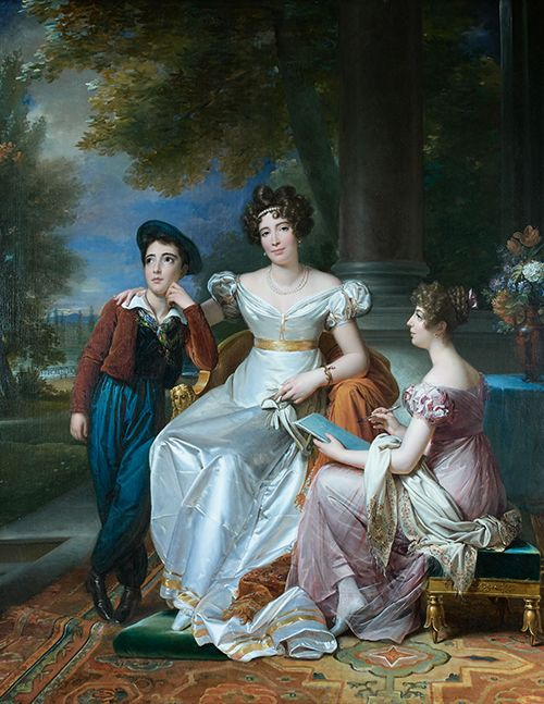 A portrait of Zoé Victoire Talon, a favorite of Louis XVIII, and her children at the Chateau de Saint-Ouen by François Gérard. This portrait was commissioned by Louis XVIII sometime between 1821 and 1823. A later copy of the portrait is in the collection of the chateau de Versailles.[source: Auctionart, via Auction.fr]