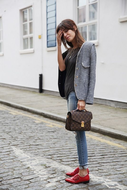 Navy tweed with grey and red - it can be done! {via they all hate us}