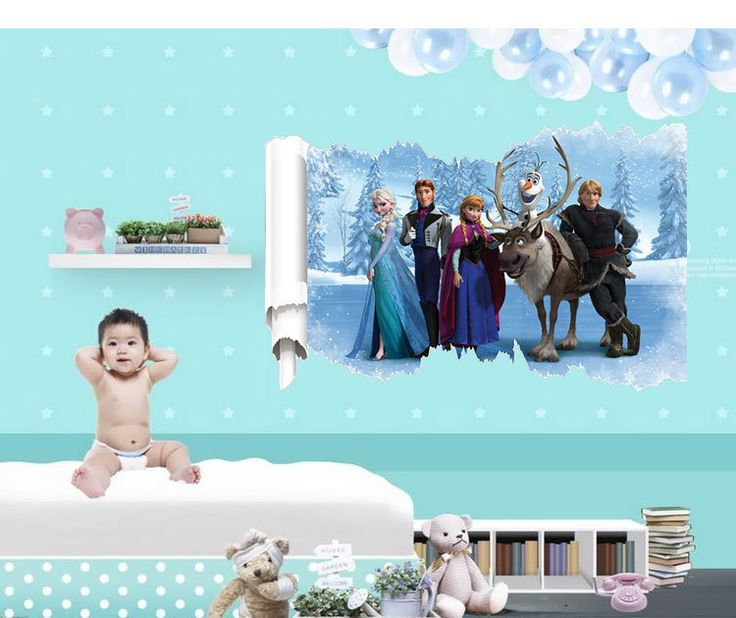 Льда девушка стены стикеры для детской комнаты украшения diy пвх мультфильм наклейки дети подарок росписи искусства 50X70 см CP0450