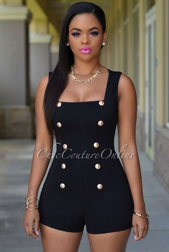Persia Black Gold Buttons Romper