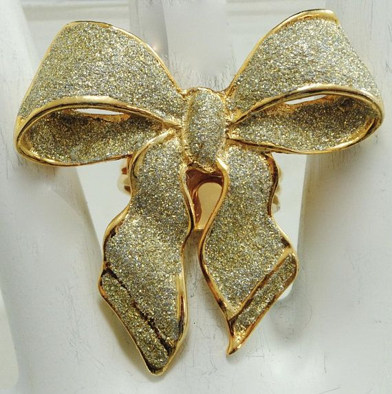 Sparkly Ribbon Bow Ring/Gold/Glitter/Wedding Jewelry/Statement Ring/Gift For Her/Adjustable/Under 20 USD