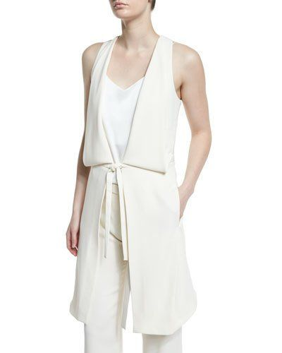 Halston+Heritage+Draped+Deep+V+Neck+Tie+Front+Vest+Chalk+|+Clothing