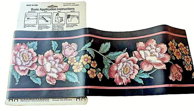 6 Vintage Black Background Pink Green Bloomed Flowers Wallpaper Border By Trimz Imperial Vintager In 2020 Flowers Black Background Flower Wallpaper Black Backgrounds