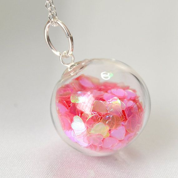 Pink heart glitter blown glass ball sterling silver by thestudio8, $29.00