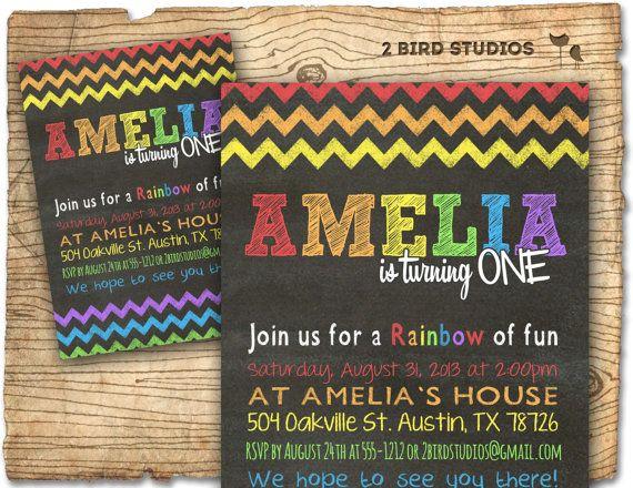 Rainbow party invitation - Chalkboard Rainbow birthday theme invite- Rainbow art party printable invitation on Etsy, $20.00