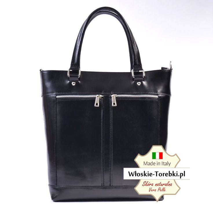 Duża czarna włoska teczka skórzana mieszcząca A4, laptopa itd. Elegancka i ponadczasowa torebka damska.