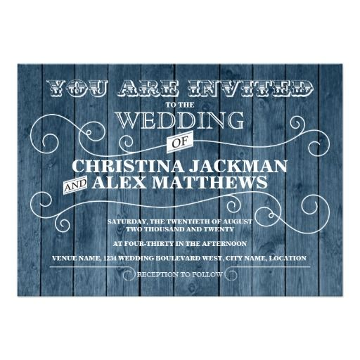 Country Rustic Blue Wood Vintage Wedding Personalized Announcement