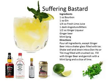 Suffering Bastard - Supposed to cure a hangover or cause one?  New Drinks   Midnight Mixologist